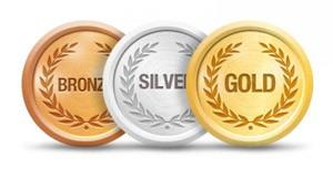 Badges representando a pontuação final